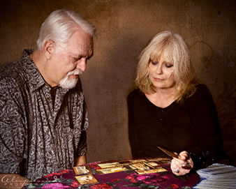 Share Starwas, respected psychic, reading a man's tarot cards